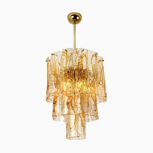 Brass Clear and Amber Spiral Glass Chandelier by Doria Leuchten Germany, 1970s