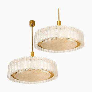 Large Glass and Brass Light Fixtures by Doria Leuchten Germany, 1960s, Set of 2