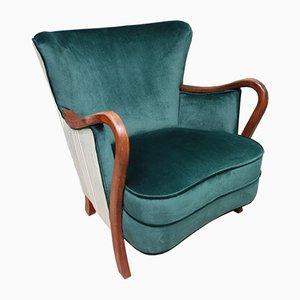 Art Deco Bentwood Green Velvet Armchair, 1930s
