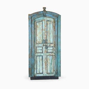 Vintage Wooden Door with Blue Patina