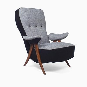 Model 2017 Armchair with Wooden Hairpin Legs by Theo Ruth for Artifort, 1950s