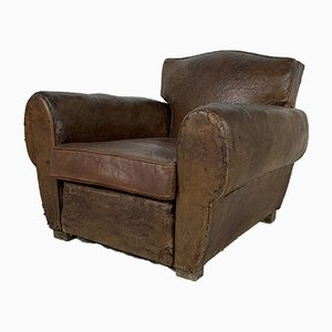 Vintage Art Deco Club Chair in Leather, 1920s