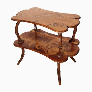 Antique Serving Table with 2 Trays by Emile Gallé