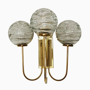 German Brass and Glass Wall Lights from Doria Leuchten, 1960s, Set of 2