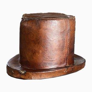 Boîte à Chapeau Antique en Cuir