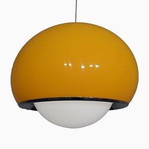 Large Bud Grande Pendant Lamp in White & Orange Plastic & Chrome by Harvey Guzzini, 1960s