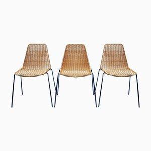 Mid-Century Esszimmerstühle aus Schilfrohr & Chrom, 3er Set