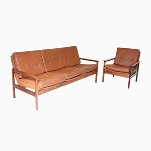 Vintage Danish Rosewood Tan Leather Sofa Set, Set of 2