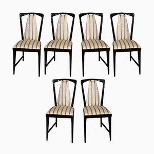 Italienischer Vintage Esstisch & Stühle aus Carrara Marmor & Mahagoni von Osvaldo Borsani für Atelier Borsani Varedo, 7er Set