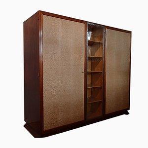 Palisander Schrank mit Vitrine aus Schmiedeeisen Türen mit rautenförmigem Kunststoffbezug, 1930er