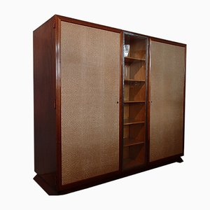 Rosewood Cabinet with Showcase Framed in Wrought Iron Doors with Raylike Plastic Cover, 1930s