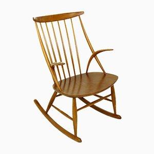 Rocking Chair No. 3 par Illum Wikkelsø pour Niels Eilersen, Denmark, 1960s