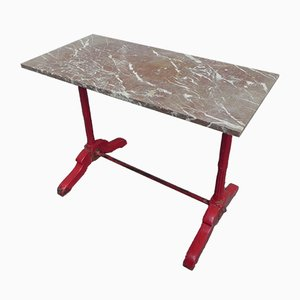 Bistro Table with Marble Top on Oak Frame, 1930s