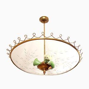 Mid-Century Italian Crystal Ceiling Lamp, 1950s
