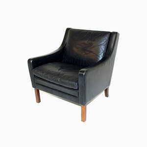 Rosewood and Leather Lounge Chair, Denmark, 1960s