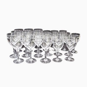 Mid-Century Crystal Wine & Water Glasses, Set of 24
