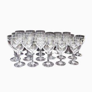 Mid-Century Wein & Wassergläser aus Kristallglas, 24er Set