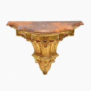 Antique French Gilt Wood & Marble Wall Mounting Side Tables, Set of 2