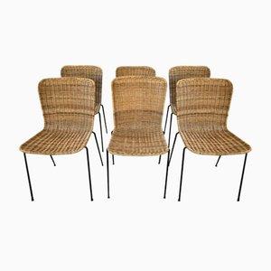 Esszimmerstühle aus Korbgeflecht, Campo e Graffi, 6er Set