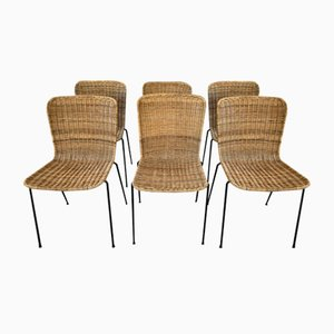 Wicker Dining Chairs Attributed to Campo e Graffi, Set of 6