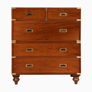 19th Century Military Mahogany Campaign Chest of Drawers