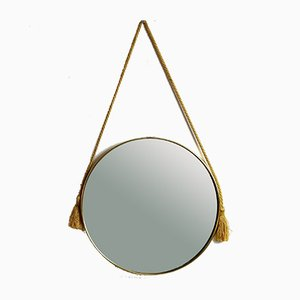 Italian Circular Brass Mirror with Satin Rope, 1950s