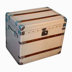 White Leather Steamer Trunk, 1990s