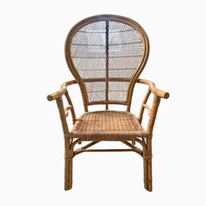 Chinese Peacock Chair in Bamboo and Rattan, Hong Kong, 1930s