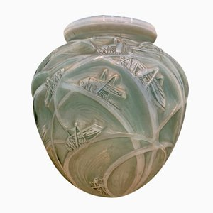 Grasshopper Vase in Opalescent Glass by R.Lalique for Lalique, 1912