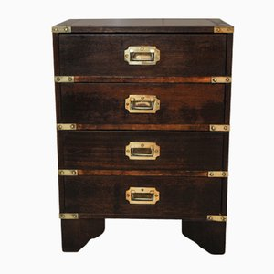 Mahogany and Brass Military Campaign Chest with Brass Scoop Handles, 1960s