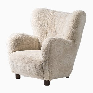 Danish Sheepskin Lounge Chairs in the Style of Flemming Lassen from Fritz Hansen, 1950s, Set of 2