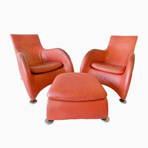 Leather Lounge Chairs & Ottoman by Gerard van den Berg for Montis, 1980s, Set of 3