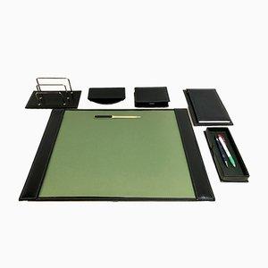 Mid-Century Leder Schreibtisch Set von Jacques Adnet, 6er Set