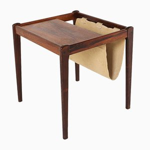 Mid-Century Rosewood Side Table with Magazine Holder in Linen