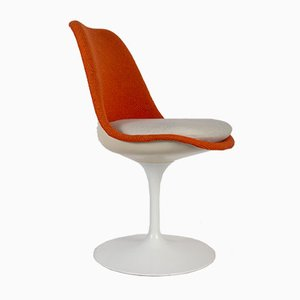 Orange Fabric & Fiberglass Tulip Dining Chairs by Eero Saarinen for Knoll Inc. / Knoll International, 1959, Set of 6