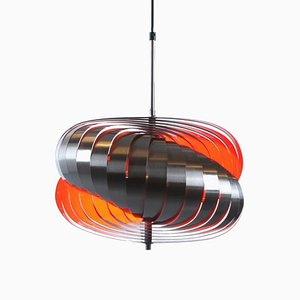 Steel Spiral Pendant Lamp by Henri Mathieu for lyfa, 1970s