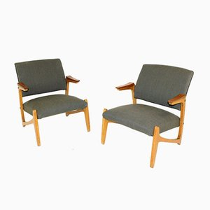 Teak and Beech Lounge Chairs, Sweden, 1950s, Set of 2