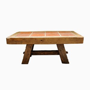 Handmade Coffee Table in Solid Oak and Terracotta Tiles, France, 1983