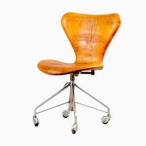 Cognacfarbener Vintage Leder Bürostuhl von Arne Jacobsen für Fritz Hansen