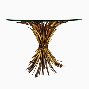 Gilt Metal Sheaf of Wheat Coco Chanel Coffee Table, 1960s