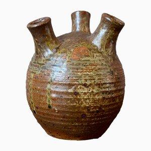 Steingut Vase mit Dreifachem Hals von André Bodin für Bodin André, 1960er
