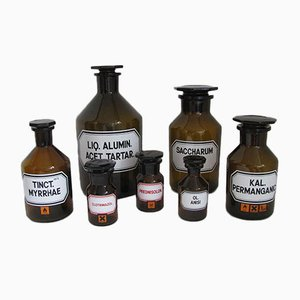 Vintage German Pharmacy Bottles from Schott, 1970s, Set of 7