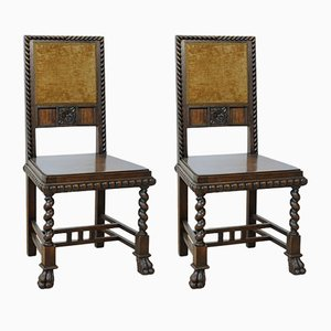Vintage Neo-Renaissance Style Dining Chairs in Walnut, Set of 2