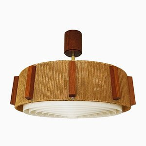Raffia Bast Ceiling Lamp from Temde, 1960s