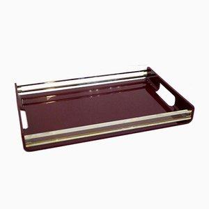 Burgunderrotes Plexiglas Tablett, 1970er