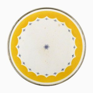 Round Ceramic and Metal Tray, 1940s