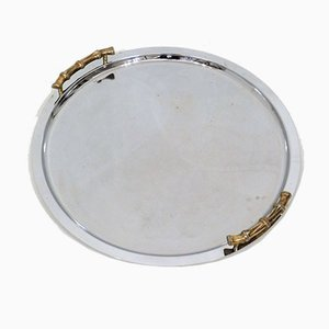 Large Round Tray with Bamboo Handles, 1970s
