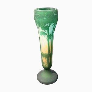 Vase Paysage Antique en Verre Cameo de Daum Nancy