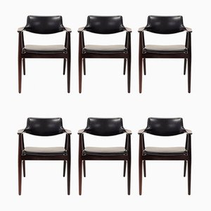 Rosewood Model GM11 Armchairs by Svend Aage Eriksen for Glostrup Møbelfabrik, 1960s, Set of 6