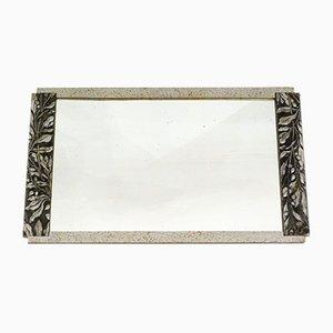 Espejo de pared Art Déco plateado